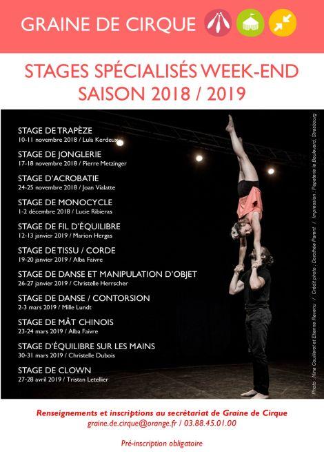 stages spÉcialisÉs week-end 2018/2019   association graine de cirque